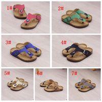 Wholesale Kids Casual Sandals - Kids Cork Slippers Beach Flip-flops Sandles Summer Beach Sandals PU Slippers Casual Cool Sandalias Antiskid Slippers 7 color KKA1626