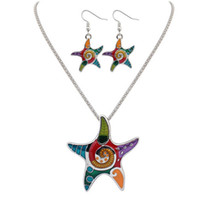 Wholesale Cheap Starfish Earrings - Vintage Jewelry Sweet Starfish Necklaces And Earring Set,Cheap Fashion Costume Jewelry Necklace Sets For Girls Kids 161918