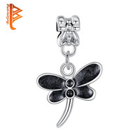 Wholesale Dragonfly Pendant 925 Silver Necklace - BELAWANG 2 Colors Vintage White&Black Enamel Dragonfly Crystal Pendant Beads 925 Silver Plated Charm Beads Fit Bracelets&Necklaces Jewelry