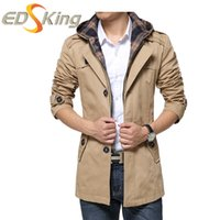 Wholesale Trench Raincoats Men - Wholesale- Man Hooded Male Windbreaker Single-Breasted Trench Coat Long Sleeves Detachable Hooded Jacket For Men Bomber Coat New Raincoat