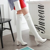 Wholesale Sexy Tall Man - Tall sexy knee-length lace straight elastic boots white thick heel boots the bride wedding shoes free shipping