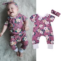 Wholesale cotton christmas jumpers - Baby Girl Romper Set Floral Jumper Toddler Outfit Boutique Clothing Suit Kids Summer Bodysuit Onesies+Headband Cotton Climb Clothes