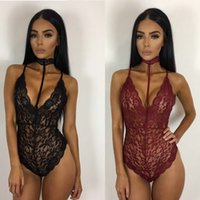 Wholesale Polka Dot Sheer - 2017 Women High Elestic Sexy Halter Bodysuit Semi Sheer Party Overalls Summer Female Night gown Lace Rompers Slim Bandage Short Jumpsuit 08