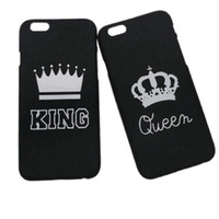 Wholesale Crown Iphone Case Cover - For Iphone 7 Plus King Queen Crown Couple Protective Phone Case Matte Hard Cover For Iphone 6 6s Plus Opp Bag