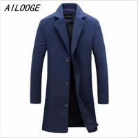 Wholesale Men Long Paragraph Suit - Wholesale- AILOOGE New Men's Woolen Coat Solid Color Fashion Long Paragraph Slim Lapel Coat Male Business Suits Men's Casual Jacket 4XL 5XL