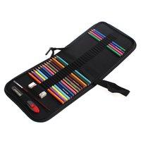 Wholesale Sketch Eraser - Wholesale- Black Canvas Pencil bag 36pcs Set Pencils+Eraser+Pencil Case+Knife Art Supplies colorful colored pencils art sketch set ASS003