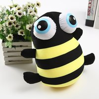 Cute Big Small Eye Bee Doll Cartoon Animal Pillow Peluche Peluche Peluche Pour Enfants Baby Stuffed Animals livraison gratuite en gros