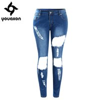 Wholesale Torn Legging Pants - Wholesale- 2048 Youaxon Women`s New Plus Size Ultra Stretch Washed Fading Torn Legs Ripped Jeans For Woman Denim Jean Trousers