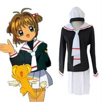 Wholesale Top Anime Cosplay Costumes Female - KINOMOTO SAKURA cosplay costumes Japanese anime Card Captor Sakura clothing sailor suit uniforms(top+skirts+hats+Tie)