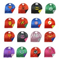 Wholesale Adult Halloween Capes - Superhero Cape Double sides 50*70 70*70 90*70cm110*70cm140*90 Stage Performance Cosplay Costumes Boys Girls Kids Adult Christmas Halloween