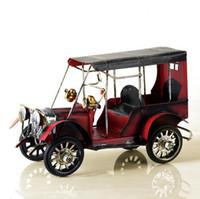 ingrosso giocattoli auto fatti a mano-3 colori fatti a mano retrò nostalgico modello di auto classica - arte del ferro modello di auto giocattoli ornamento per la decorazione home office (modello di auto d'epoca)