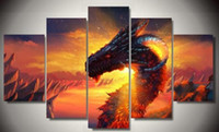 Wholesale Cartoon Painting Games - 2017 Large Hd Cartoon Anime Poster Game Dragon Group Canvas Painting Home Decor Wall Picture for Living Room Modular Picture