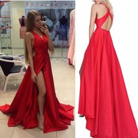 yarık tafta toptan satış-Seksi Kırmızı Balo Elbise V Boyun Tafta Abiye 2017 Yeni V Boyun Kapalı Omuz Yan Yarık Balo Abiye