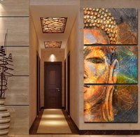 Wholesale Images Group Fashion - Three groups of Buddha abstract images of modern home decoration sitting room or bedroom wall art canvas printing painting the wall