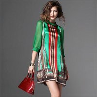 Wholesale Ladies Chiffon Style Dresses - Women Summer Silk Dress New Fashion European Style Elegant Vintage Pattern Green Print Dresses For Lady Plus Size Clothing G2519