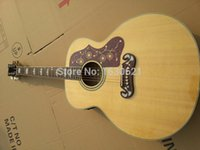 Wholesale Deluxe Acoustic Guitar - Wholesale- 2015 New + Factory + Chibson J200 acoustic guitar J200 electric acoustic Deluxe guitar AAA grade flame maple body&sides