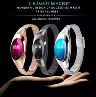 19 monitores venda por atacado-Z18 banda Inteligente Pressão Arterial Monitor de Freqüência Cardíaca Pedômetro pulseira bluetooth Para IOS Android Mulheres Presente de Luxo Relógio de Vestido Relógios