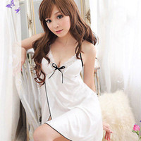 Wholesale Sleeping White - Wholesale- Lady Sleepwear G-string Sleeping hot dress nightgown Womens Sexy Lingerie Lace Dress Underwear White Babydoll