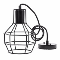 Wholesale Painted Lampshades - Vintage Indoor Lighting Retro Industrial Painted Pendant Iron Cage Lampshade American Country Style Light Fixture