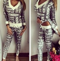 2016 Asymmetrisches Sweatshirt und Hosen Set 2 Zwei Stück Set Trainingsanzug PARIS Print Sweat Anzüge Damen Hoodies Sets