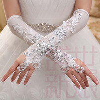 sparkle glove - New Coming Gorgeous Elegant White Fingerless Long Wedding Gloves Formal Gloves Women Sparkle Crystal Beaded Bridal Gloves