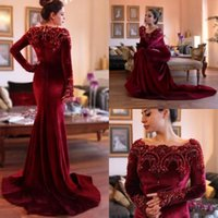 Wholesale Winter Prom Dress Warm - Beaded Velvet Evening Dresses Long Sleeve Evening Gowns Sweep Train Plus Size Mermaid Warm Prom Dress
