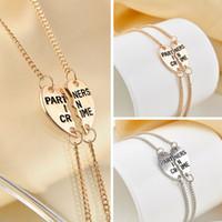 Wholesale Pulseras Best - Gold chain bracelets & bangles half heart letter partners in crime bracelet friendship gift for best friend pulseras mujer