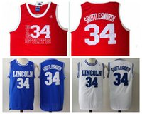 "Wholesale Film Blue Ray - Movie Jesus Shuttlesworth Lincoln #34 Ray Allen Jersey High School 1998 Film ""He Got Game"" Jersey Blue White Red Ray Allen Basketball Jersey"