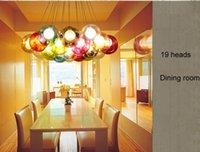 araña de bolas de cristal burbuja al por mayor-Lámpara de bolas de vidrio de colores G4 LED araña de esferas de vidrio de colores lámpara moderna Lámparas de cristal de burbujas LED de colores para la vida del comedor