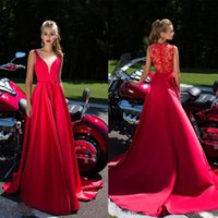 Wholesale See Through Lace Shirts - 2K17 New Prom Dresses Satin See Through Lace Back A Line Vestidos De Festa Sweep Train Sleeveless Evening Party Gowns Custom Made