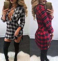 Wholesale Plaid Women S Blouse - Women Lace-up Plunge Deep V Neck Bandage dress Long sleeve Casual Bodycon Striped Bandage Mini DressTops Blouse Shirt