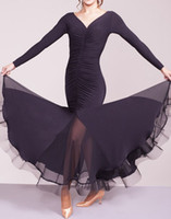 Wholesale Cheap Belly Dance Costumes - Black Ballroom Dance Dresses 2017 New Arrival Long Sleeve Stage Waltz Costume Women Cheap Flamenco Dancing Wear Ballroom Dress
