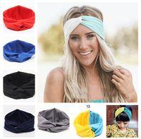 ingrosso fasce sportive in vendita-Vendite calde Nuovo 19 colori Solid Twist Sport Moda Yoga Stretch fasce donne turbante Bandana avvolgere accessori per capelli LC441