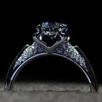 anillo de compromiso de boda de diamante real conjunto al por mayor-¡¡¡Tiene un certificado de plata Anillo de compromiso de plata de ley real 100% 925 Conjunto de anillos de boda de diamante simulada de 1,25 ct para mujer