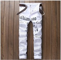 Wholesale Long Pant For Bike - 2017 New Fashions Tide Brand Men's Jeans Mens Straight Ripped for High Quality Denim Bike jeans Fashion Designer Pants Slim Fit Trousers