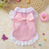 Wholesale small dog clothes for girls resale online - 2 Colors Pet Dog Clothes Summer Soft Derss Vest Clothing With Bow Girl Female Costume For Small Cat Middle Puppy Dogs Chihuahua XS XL