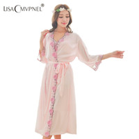 6f1cbe24c9 Wholesale- Lisacmvpnel women s quality full optical viscose robe set  comfortable breathable plus size embroidered Bathrobe
