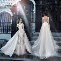 Wholesale Long Backless Mermaid Wedding Dresses - Vintage 2017 Mermaid Wedding Dresses With Overskirts Jewel Neckline Appliques Long Sleeve Wedding Dress Sweep Length Backless Bridal Gowns