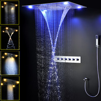 Wholesale chrome thermostatic rain shower set for sale - Group buy Thermostatic Shower Modern Designs Large Size Ceiling Rain Multifunction Concealed Shower Faucets Set LED Shower Mist Waterfall