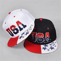 Wholesale Hiphop Hat Usa - Snapbacks Baseball Caps Adjustable Cotton USA American Flag Fitted Sun Hat Hiphop Baseball Cap Casquette Outdoor Hat Sports Ball Caps