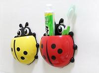 Wholesale Toothbrush Holder Suction Ladybug - 4 colors Cute Ladybug Cartoon Sucker Toothbrush Holder suction hooks Household Items toothbrush rack bathroom set