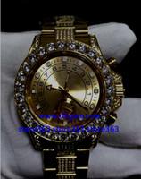 diamante suizo 18k al por mayor-4 estilo RELOJ SUIZO PARA HOMBRE 116680 esfera blanca grande Bisel diamante 40MM 18k Dial oro amarillo Correa de diamantes de oro Reloj automático