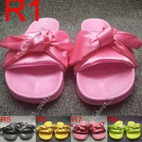 Wholesale Gold Flip Flops For Women - (With Box+Dust Bag) Fashion Womens Slippers Fenty Bandana Slide RIHANNA Bow Slides Ladies Slipper White Pink Red Gold For Sale Size 36-41