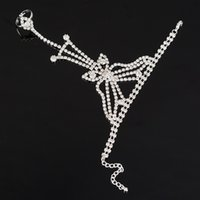 Wholesale Slave Dresses - Wholesale Silver Hand Chain Bracelet Rhinestone Crystal Fashion Chains Slave Ring Finger Bridal Jewelry Wedding Dress Accessories for Women
