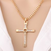 Crystal Cross Collier Bijoux Vente en gros Trendy Platinum 18K Real Gold Crucifix plaqué or Jesus Cross Chains For Christian