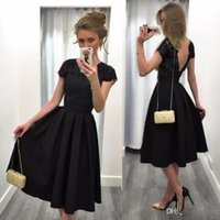 Wholesale Black Cocktail Dress Europe - 2017 pure color Europe and the United States hot sale jewel short sleeves exy backless knee-length wedding guest dress formal cocktail dress