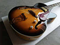 rote hohle körpergitarren großhandel-Kundenspezifischer Weinlese-Sonnendurchbruch-halb hohles Körper-Doppelt-f-Loch L5 Jazz-E-Gitarren-einzelne Aufnahmen-Goldtrapezoid-Saitenhalter-rote Schildkröte Pickguard