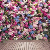 Wholesale Wood Floor Photography Backdrops - Colorful Pink Blue Blossoms Wall Wedding Studio Flower Background Romantic Floral Photography Backdrops Wood Planks Floor