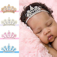 Wholesale festival chic - Baby Girls rhinestone Crown headband baby elastic hairband kids chic hair accessory for birthday party festivals photo props