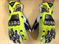 Wholesale Woman Biker Leather Gloves - 2017 dain MotoGp Valentino Rossi VR46 Motorcycle Biker Racing Leather Gloves Racing Glove Motorcycle Glove Free shipping